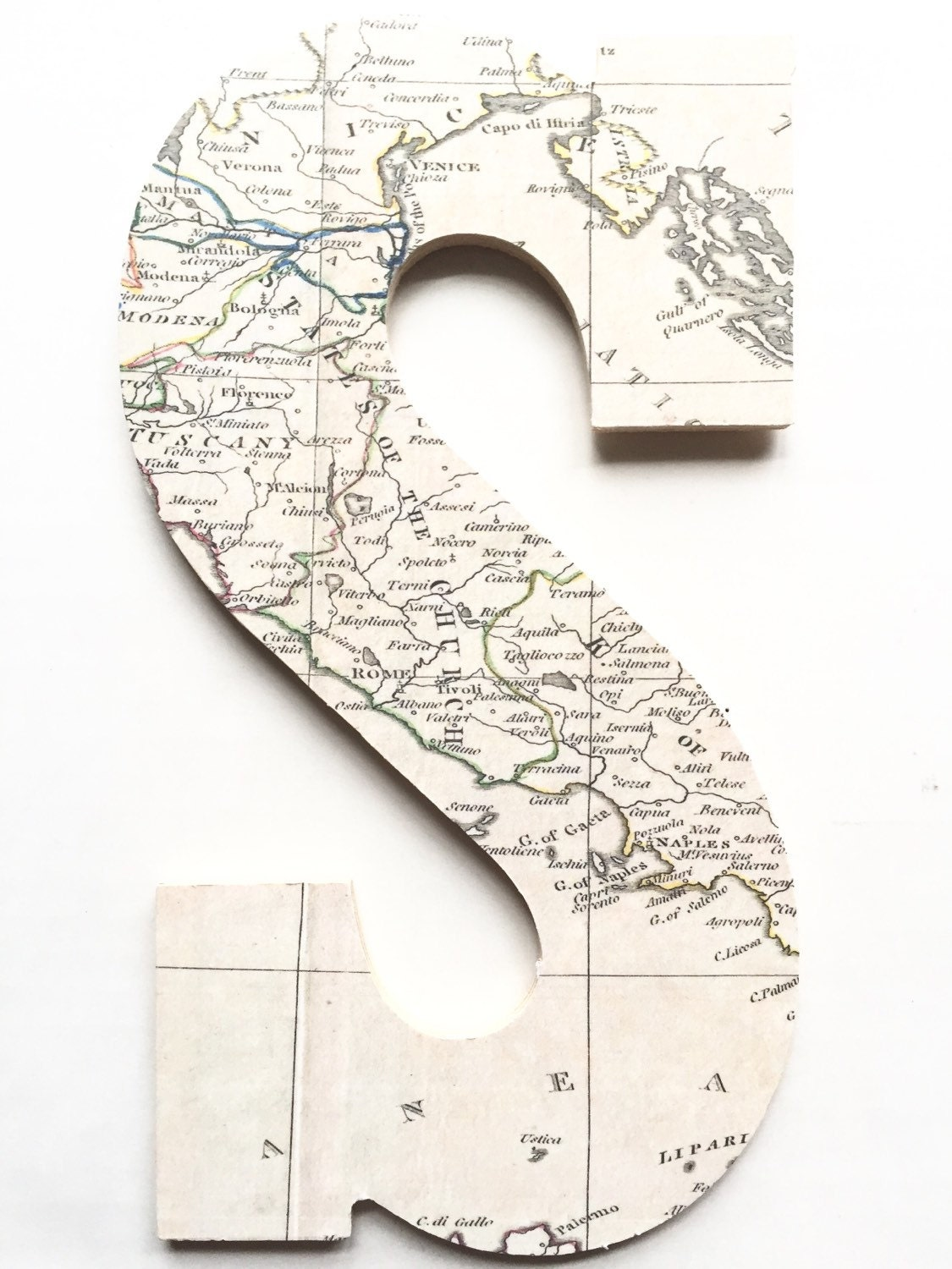 Vintage Letters Wall Decor : Italy map room decor letter home wall hanging handmade