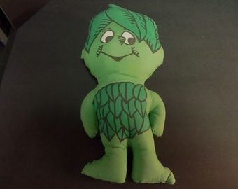 """Vintage 1960's Jolly Green Giant """"Little Sprout"""" stuffed doll."""