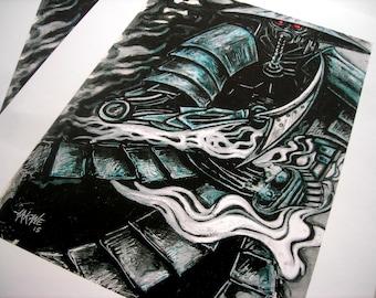art-print street cyber-punk ronin
