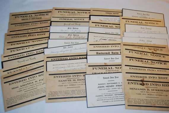 FUNERAL NOTICE Lot of 40 Cards 1920's - 1940's