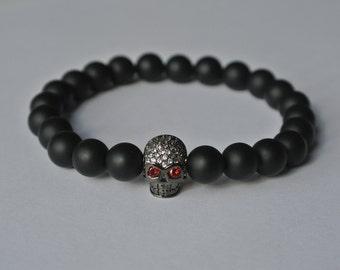 Circonia Skull bracelet ONYX Black Cubic Zirconia Stainless Steel Skull Fashion Buddha Zirconia Diamonds Gemstone Rocker Moto