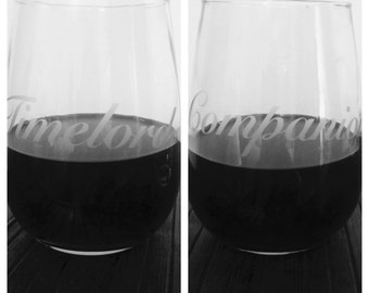 """Dr. Who Inspired Etched Stemless Wine Glasses / """"Timelord"""" and """"Companion"""""""