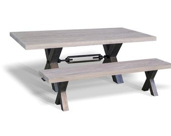 Oak top table with Industrial Metal Base