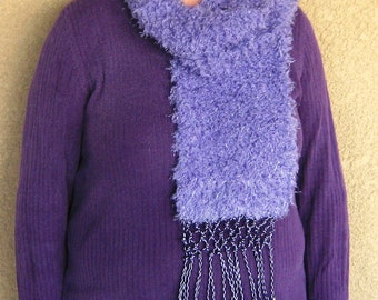 "Fuzzy Lavender Scarf with Funky Fringe---""The Lorax"""