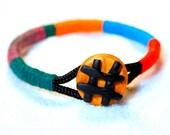Wrap bangle, Rope Bracelet, bangle bracelet, colorful bangle, color block bracelet, statement bangle, tribal bracelet, polymer clay bracelet