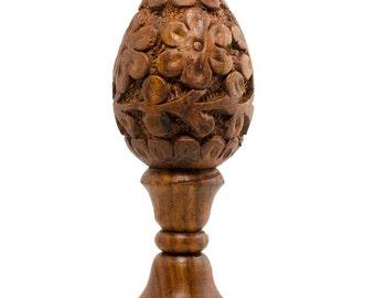"""4.5"""" Sheesham Wood Hand Carved Easter Egg with Stand- SKU # MR_N3_N2"""