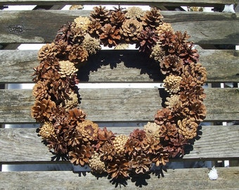 Natural Pine Cone Wreath, round, cones alternating upside down.  Can embellish.  Front Door Wreath, Wall Decor, Gifts, Pinecone.