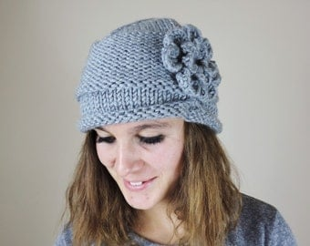 Gray Knit Hat with Flower, Grey Toque, Womens Knit Hat, Hand Knitted Hat