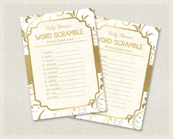 word scramble gold and white baby shower games gold white word