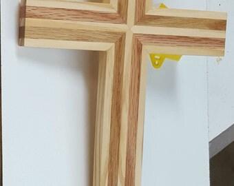 Wood wall cross made of red oak and pine. handmade wooden cross, medium