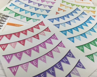 NEW! Flag Weekend Banner Planner Stickers !