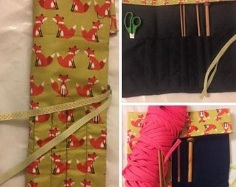 Knitting needle holder wrap case with yarn needle, scissors and stich counter space, foxes orange and ribbon