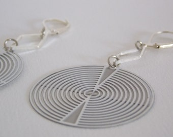 Graphic earrings - print form disk and diamond charm
