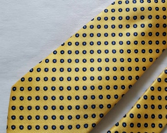 HANDMADE Yellow Black Dot Silk Tie