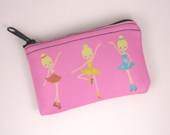 Cute Ice Skaters Coin/Cosmetics Purse