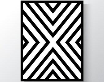 Digital Print, Large, Criss Cross, Black and White, Wall Art, Printable Art, Abstract print, Geometric Art, X, Lines,