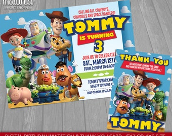 Toy Story Invitation & Thank you card - Disney Pixar Toy Story Birthday Invitation - Toy Story Birthday Party - Woody Buzz