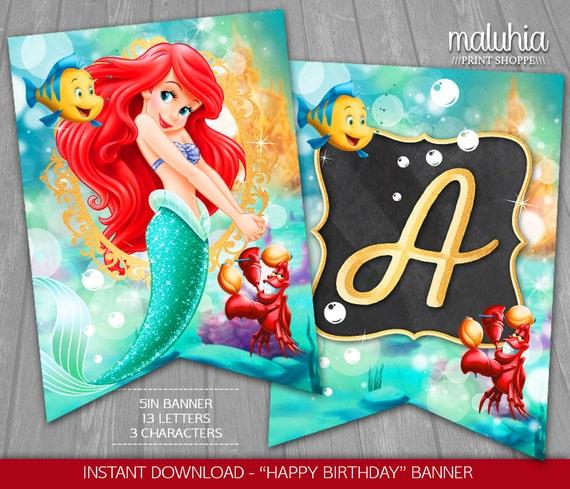 Little Mermaid Birthday Banner INSTANT DOWNLOAD Disney