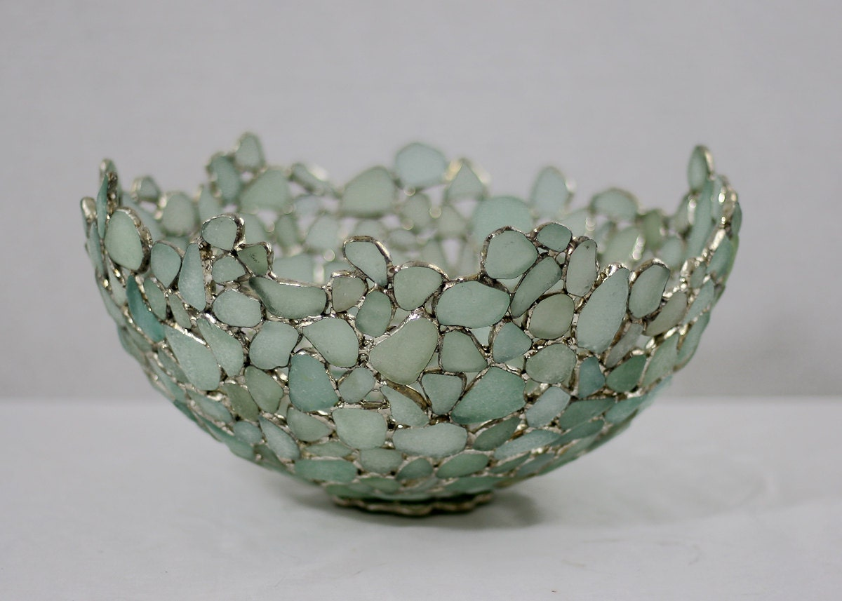 Large sea glass bowl seafoam blue and white english beach for Broken glass crafts