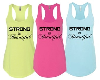 "Ladies Racerback Tank ""Strong is Beautiful!"" - Activewear Workout wear"