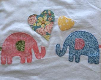 Large elephants appliqué standard pillowcase