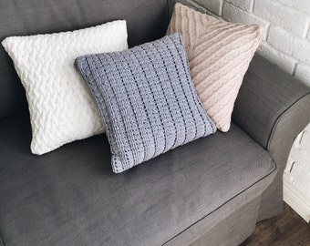 KNITTED DECORATIVE PILLOW - pillows chunky pillows couch pillows sofa cushions knit off-white pillows throw pillows gift for mom