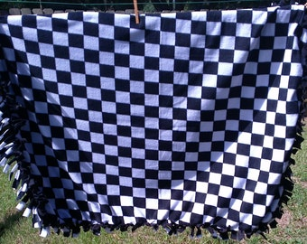 Black and White Checkers 38x52 Tied Blanket