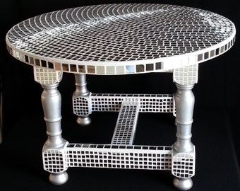 Round coffee table tiled mirror