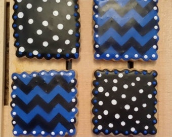 Polka Dot and Chevron Cookies!   Can be made in any color combination!