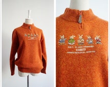 Orange Rabbits Embroidery Womens Sweater . Vintage Half ziper High Neck Knit Womens Sweaters Clothings . Free Shipping . Size large