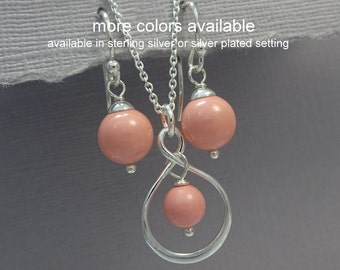 Pink Coral Pearl Infinity Jewelry Set, Pink Coral Necklace Infinity Necklace and Earring Set Infinity Bridesmaid Jewelry Set Wedding Jewelry