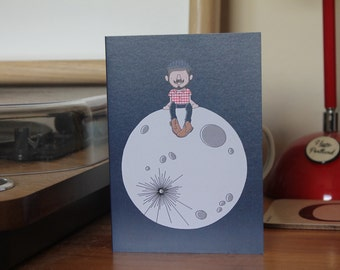 Greetings card A6 'Man on the moon'
