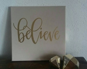 Believe Wall Art - 12 Inch Canvas - Square Sign