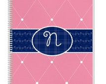 Personalized Pink Monogram Notebook. Cool Kids Notebook, but also a great Adult Notebook. Our Custom Notebooks make a great Birthday Gift.