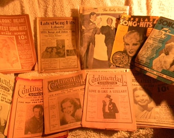 Lot of antique original 1920's 30's Popular Song books, Advertising, Ephemera, Bing Crosby, Mae West etc. Lyrics