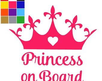 Princess On Board Car Sign x 3. Car Bumper Sticker Child. Princess On Board. Ships Worldwide. FREE UK SHIPPING.