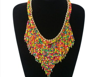 Multi-colored Seed Bead waterfall Statement Necklace