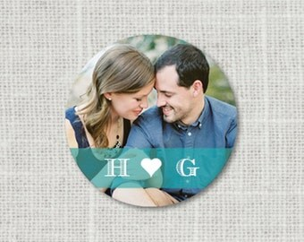 Photo Monogram Wedding Stickers - Save the Date Wedding Stickers, Photo Save the Date Stickers