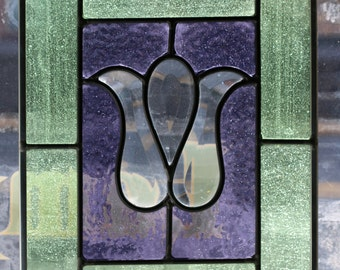 Green and Blue Stained Glass Beveled Panel