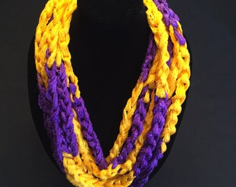 Purple and Yellow Crocheted Rope Scarf