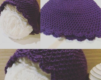 Beanie: shell edge, hand crocheted cap