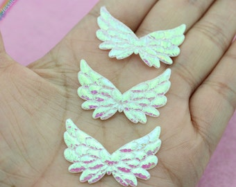 50pcs Double Sided Iridescent Angel Wing Appliques 35mm Shiny Die Cut Wings Scapbooking Embellishment DIY Craft Supplies