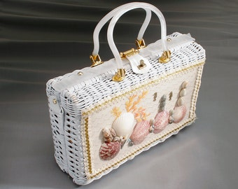Lucite and woven shell bag