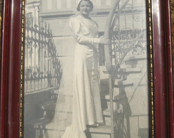 Antique Photograph-Bride, black and white from 50's in wooden frame