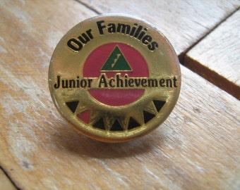 Vintage pin badge-Our Families Junior Achievement