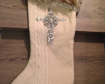 Stocking with Jeweled Cross