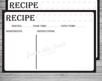 50% OFF SALE! Editable Recipe Card, Printable Recipe Card, Instant Download, Kitchen Decor, Fillable Recipe Card 4x6, Kitchen Cook Book