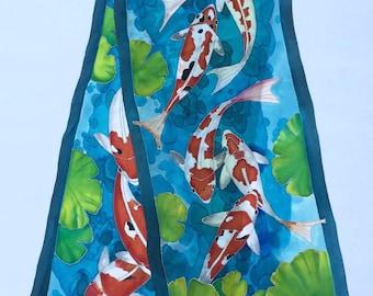Hand painted Silk Scarf Koi, Blue Silk Scarf, Red Koi Scarf, Crepe De Chine Silk  Scarf,Koi Fish-Silk Scarf 22X90 Inches