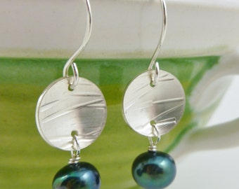 Teal freshwater pearl and hammered sterling silver disc earrings