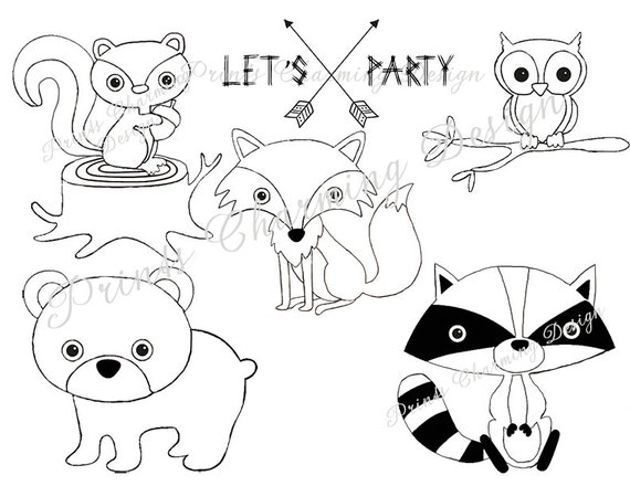 Woodland Creature Birthday Party Instant Download Woodland